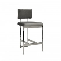 Worlds Away Baylor Nickel Counter Stool with Grey Velvet Cushion