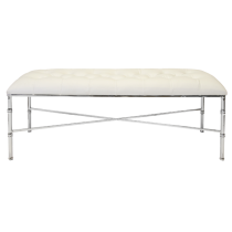 Worlds Away Stella Nickel Plated Bamboo bench with white vinyl unholstery