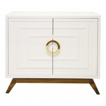 WORLDS AWAY Bernard White Brass Cabinet