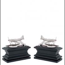 Hydroplane Nickel & Black Wood Bookend Set of 2
