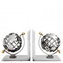 BOOKEND GLOBE SET OF 2 NICKEL