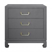Camille Grey Basketweave Grasscloth & Brass Chest