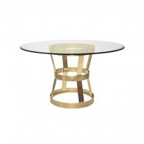 Cannon Antique Brass Dining Table with Glass Top
