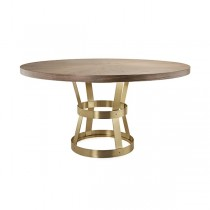 Cannon Antique Brass Dining Table with Radial Walnut Top