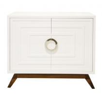 Bernard White & Nickel Cabinet