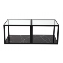 Tamon Square Black Marble Coffee Table - Set of 2