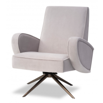 Strata Kaster Light Grey Velvet Armchair