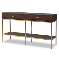 Levi Dark Brown Ash & Brass Console