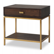 Levi Dark Brown & Brass Bedside Table