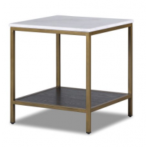 Max Brass Side Table with White Marble Top