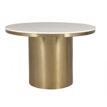 Camden Brass Dining Table with Polished White Marble Top