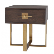 Ophir Dark Brown Oak & Dark Brass Side Table