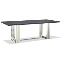 Lennox Stainless Steel Dining Table with Black Ash Top