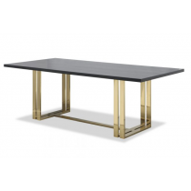 Lennox Brass Dining Table with Black Ash Top