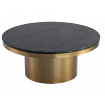 Camden Brass Coffee Table with Marquina Black Marble Top