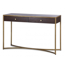Rivoli Chocolate Brown & Brass Console Table