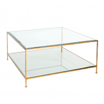 WORLDS AWAY QUADRO GOLD COFFEE TABLE