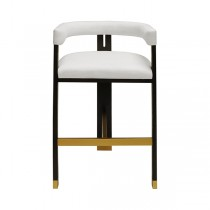 Connery Wood & White Linen Bar Stool