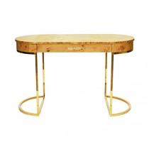 Corbett Burl Wood & Brass Desk (
