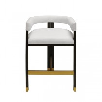 Cruise Wood & White Linen Counter Stool