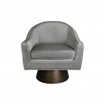 Dominic Grey Velvet Swivel Chair