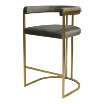 Donavan Gold Leaf & Grey Velvet Bar Stool