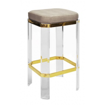 DORSEY ACRYLIC BAR STOOL WITH BRASS AND BROWN SHAGREEN