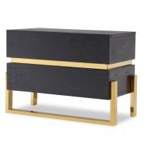 Enigma Black Ash & Brass Bedside Table