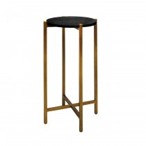Fitz Brass Cigar Table with Black Shagreen Top