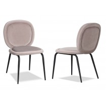 Belux Kaster Light Grey Velvet Dining Chair - Set of 2