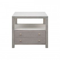 WORLDS AWAY HATTIE GREY GRASSCLOTH SIDE TABLE
