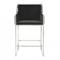 Hazel Nickel & Black Velvet Counter Stool (Seconds)
