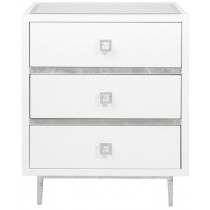 Worlds Away Hyde White and Silver Bedside