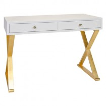 Worlds Away Jared White Lacquer Desk/ Console