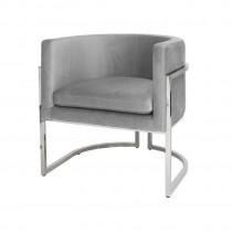 Jenna Grey Velvet Nickel Armchair