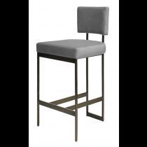 Jones Bronze & Grey Velvet Bar Stool
