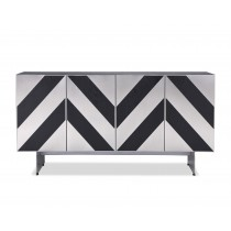 Unma Black Ash & Stainless Steel Buffet front