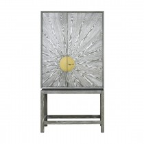 Worlds Away Luna Grey Cerused Oak Bar Cabinet