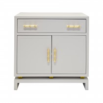 Worlds Away Marcus Grey & Gold Nightstand