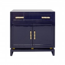 MARCUS NAVY NIGHTSTAND WITH GOLD LEAF HARDWARE