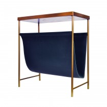Mayfair Brass & Blue Leather Magazine Rack
