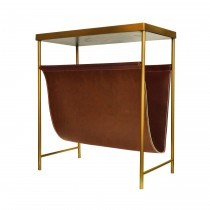 Mayfair Brass & Brown Leather Magazine Rack