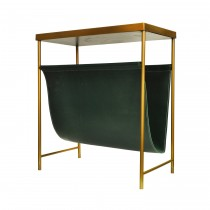 Mayfair Brass & Green Leather Magazine Rack