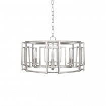 Worlds Away McKenzie 6 Arm Light Silver Leaf Chandelier