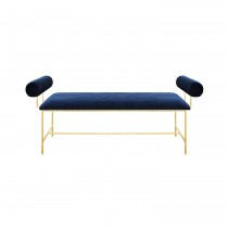 MILLER GOLD BENCH WITH NAVY VELVET