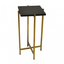 Ollie Brass Cigar Table with Black Shagreen Top