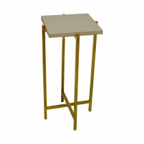 Ollie Brass Cigar Table with Grey Shagreen Top