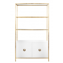 Worlds Away Wyeth White & Gold Leaf Etagere