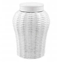 Fort Meyers Large White Ceramic Rattan Vase