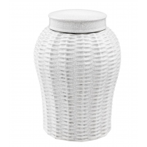 Fort Meyers Small White Ceramic Rattan Vase